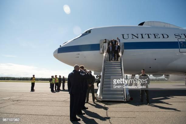 Secretary of Defense James N Mattis, Sen Dan Sullivan and members of the Senate Armed Services Committee arriving in Fairbanks, Alaska, June 24,...