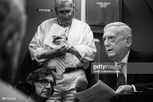 Secretary of Defense James N. Mattis speaking to reporters during a flight from Andrews Air Force Base, Maryland to Alaska, June 24, 2018. Image...