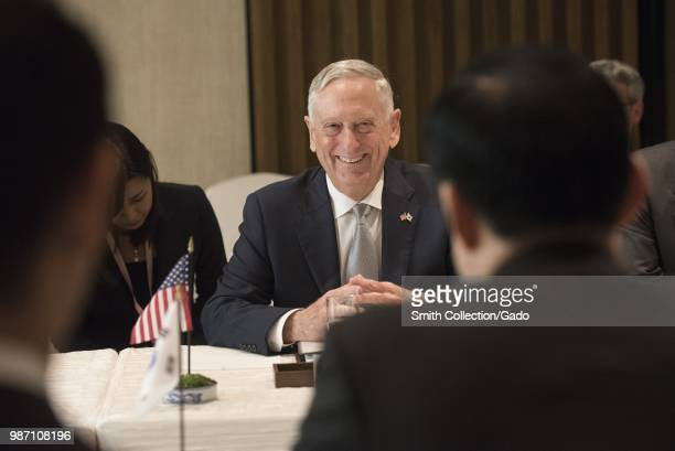 Secretary of Defense James N Mattis speaking with Republic of Korea Minister of National Defense Song Young-moo at the Shangri-La Dialogue,...