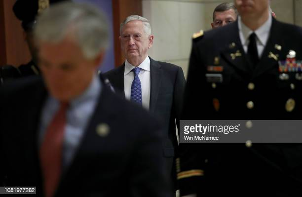 Secretary of Defense Jim Mattis arrives for a closed intelligence briefing at the U.S. Capitol with members of the House of Representatives December...