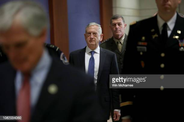 S Secretary of Defense Jim Mattis arrives for a closed intelligence briefing at the US Capitol with members of the House of Representatives December...