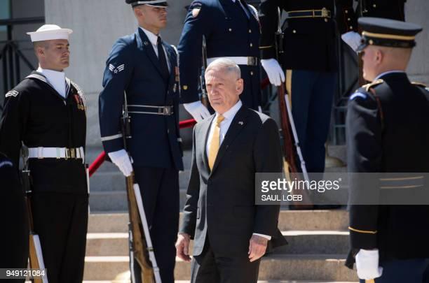US Secretary of Defense Jim Mattis awaits the arrival of Japanese Defense Minister Itsunori Onodera for meetings at the Pentagon in Washington DC...