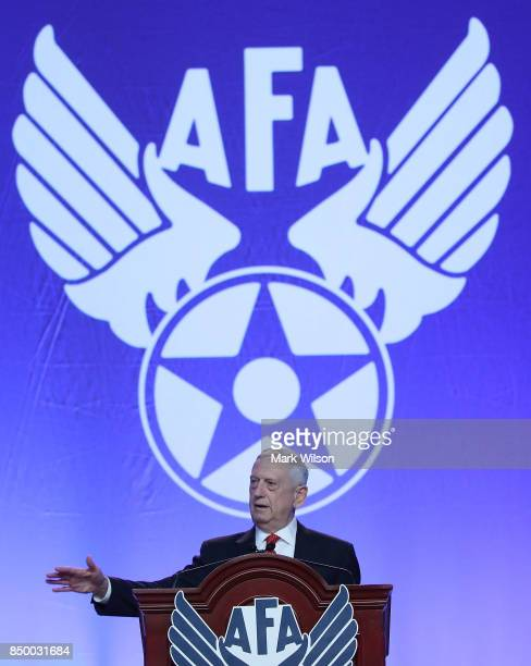 Secretary of Defense Jim Mattis delivers the keynote address during the Air Force Association 2017 Air Space and Cyber Conference at the Gaylord...