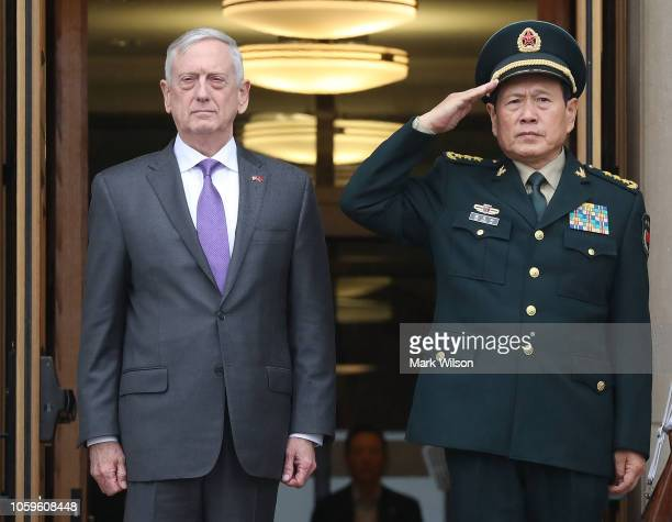 Secretary of Defense Jim Mattis hosts an honor cordon ceremony to welcome China State Councilor and Defense Minister General Wei Fenghe at the...