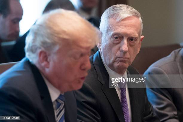 US Secretary of Defense Jim Mattis listens to US President Donald J Trump deliver remarks during a meeting with members of his Cabinet in the Cabinet...