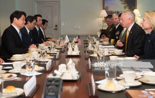 US Secretary of Defense Jim Mattis meets with Japanese Defense Minister Itsunori Onodera at the Pentagon in Washington DC April 20 2018