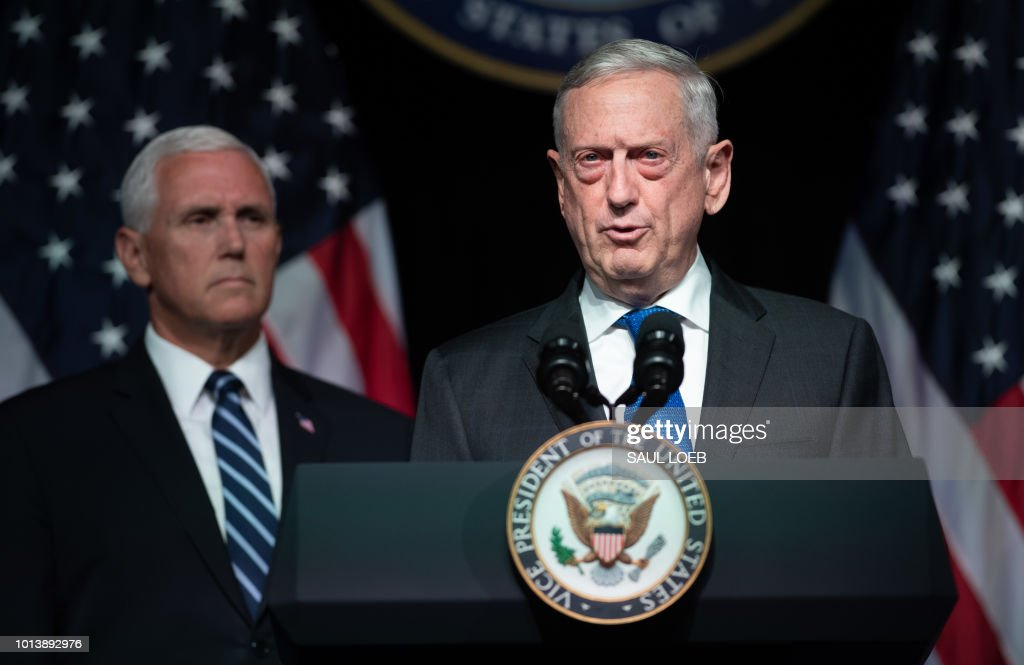 US Secretary of Defense Jim Mattis speaks alongside US Vice President Mike Pence about the creation of a new branch of the military, Space Force, at the Pentagon in Washington, DC, on August 9, 2018.
