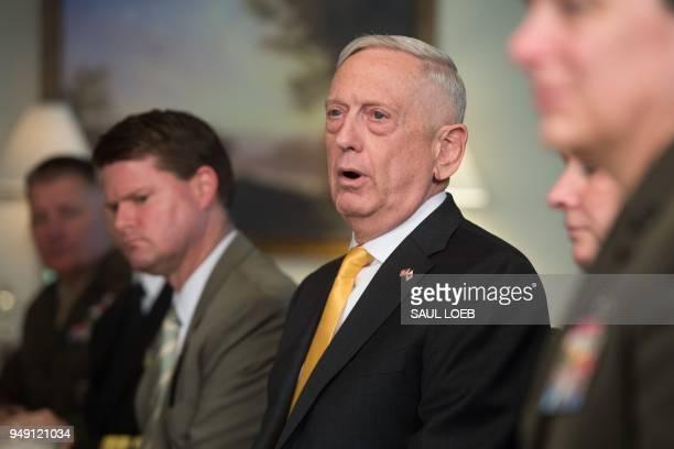 US Secretary of Defense Jim Mattis speaks during a meeting with Japanese Defense Minister Itsunori Onodera at the Pentagon in Washington DC April 20...