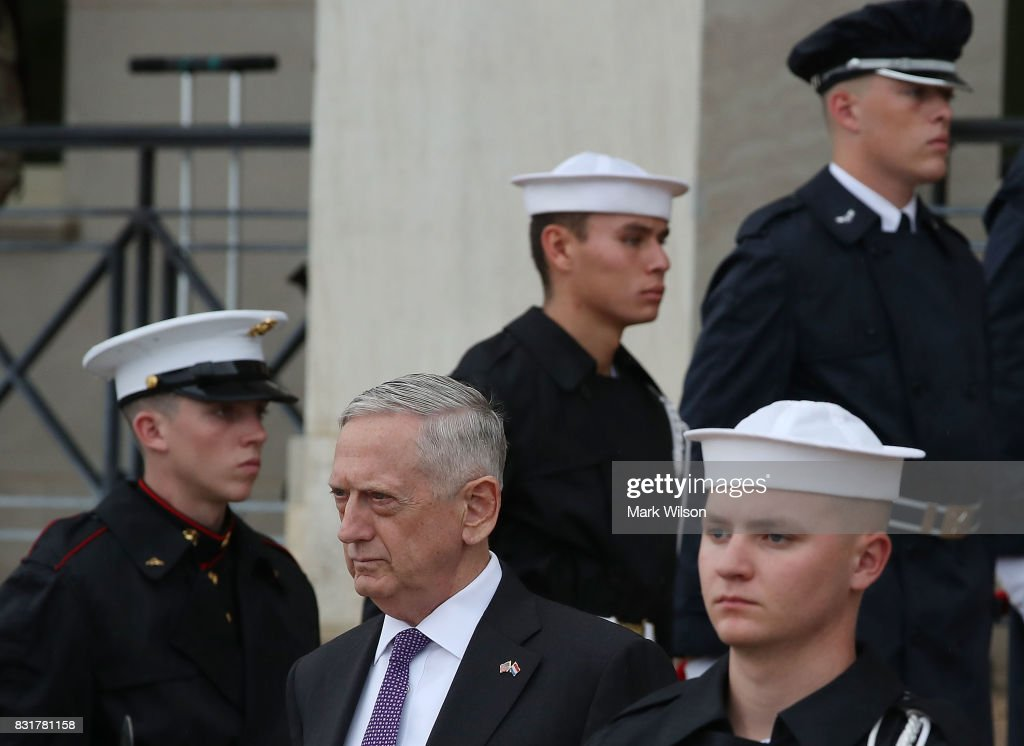 Secretary of Defense Jim Mattis waits for the arrival of Her Excellency Jeanine Hennis-Plasschaert, Minister of Defense of the Netherlands during a honor cordon at the Pentagon, on August 15, 2017 in Arlington, Virginia.