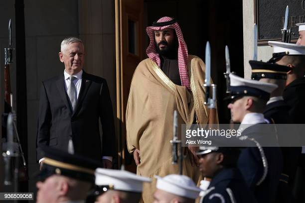 S Secretary of Defense Jim Mattis welcomes Crown Prince Of Saudi Arabia Mohammad Bin Salman during an enhanced honor cordon March 22 2018 at the...