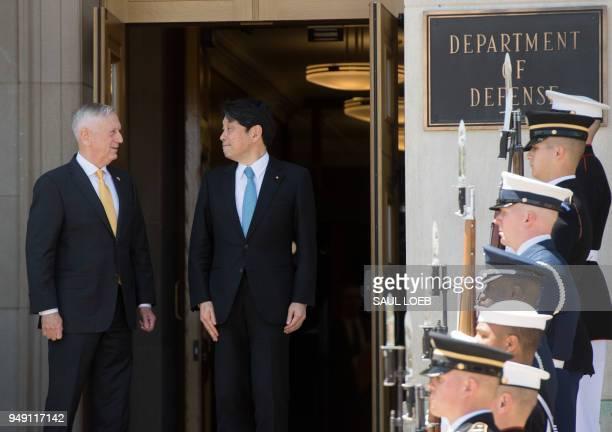 US Secretary of Defense Jim Mattis welcomes Japanese Defense Minister Itsunori Onodera as he arrives for meetings at the Pentagon in Washington DC...