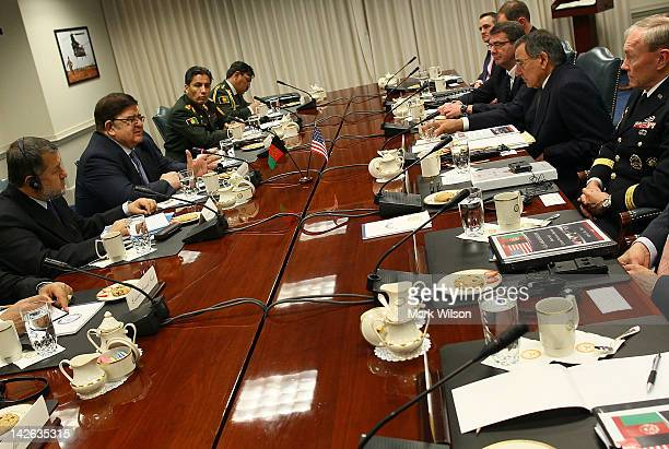 Secretary of Defense Leon E Panetta and Afghanistan's Minister of National Defense Abdul Rahim Wardak participate in a bilateral meeting at the...