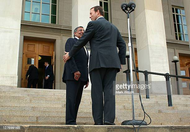 Secretary of Defense Leon E Panetta and Canadian Minister of National Defence Peter MacKay walk away after speaking to the media at the Pentagon on...