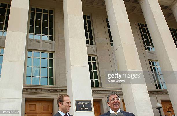 Secretary of Defense Leon E Panetta and Canadian Minister of National Defence Peter MacKay speak to the media at the Pentagon on September 30 2011 in...
