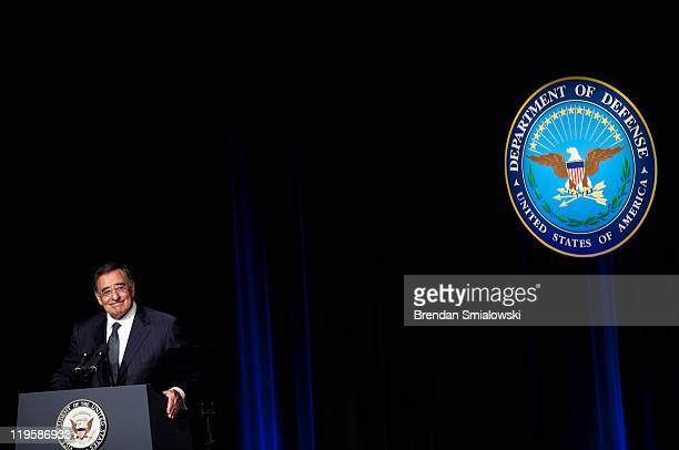 Secretary of Defense Leon E Panetta speaks during a ceremonial swearingin at the Department of Defense July 22 2011 in Washington DC Panetta was...