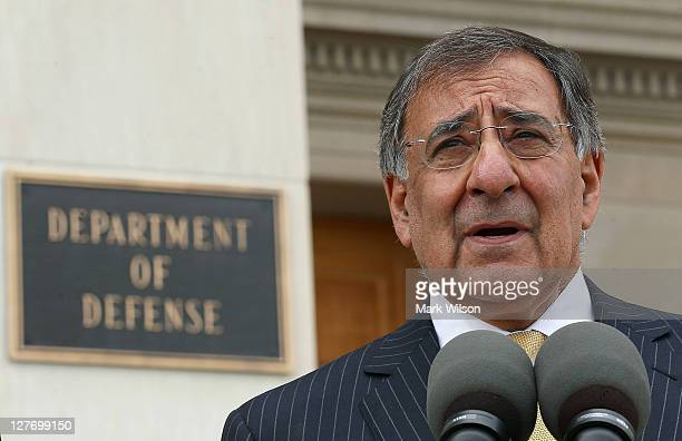 Secretary of Defense Leon E Panetta speaks to the media after meeting with Canadian Minister of National Defence Peter MacKay at the Pentagon on...