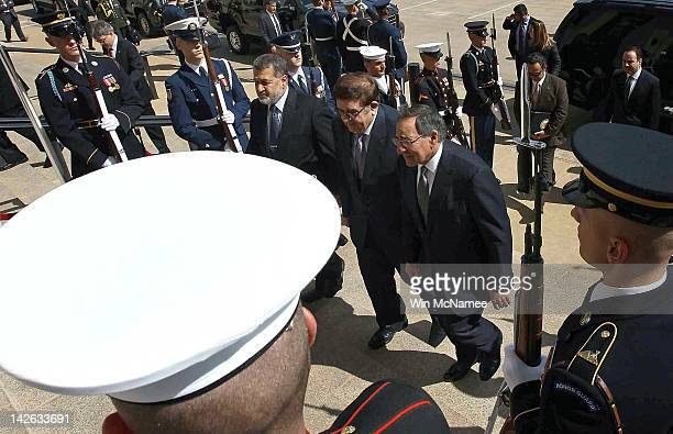 S Secretary of Defense Leon E Panetta walks with Afghanistan Minister of National Defense Abdul Rahim Wardak to the Pentagon April 10 2012 in...