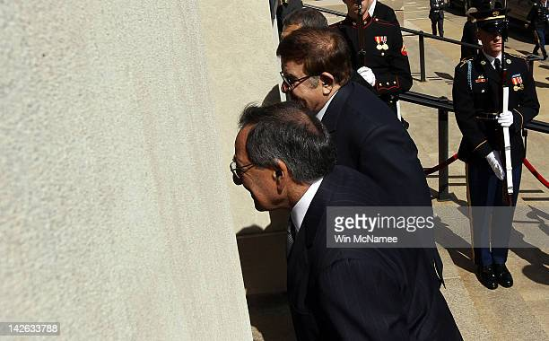 S Secretary of Defense Leon E Panetta welcomes Afghanistan Minister of National Defense Abdul Rahim Wardak to the Pentagon April 10 2012 in Arlington...