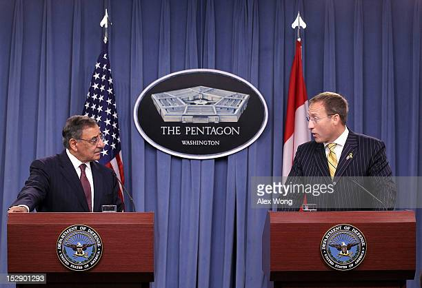 Secretary of Defense Leon Panetta and Canadian Minister of National Defense Peter MacKay participate during a joint news conference at the Pentagon...