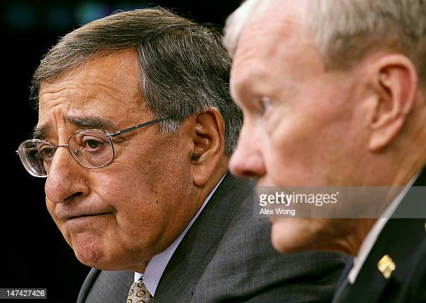 S Secretary of Defense Leon Panetta and Chairman of the Joint Chiefs of Staff Gen Martin Dempsey participate in a news briefing June 29 2012 at the...