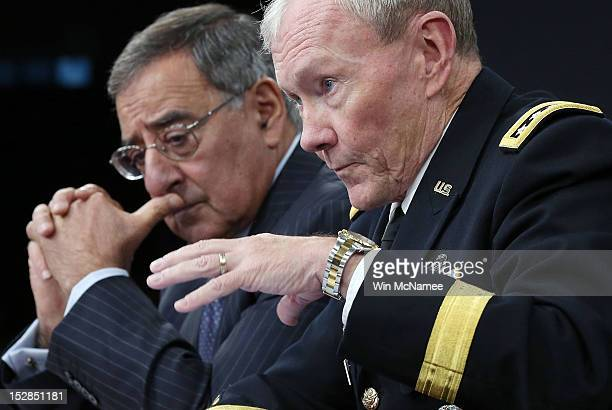 S Secretary of Defense Leon Panetta and Chairman of the Joint Chiefs of Staff Gen Martin Dempsey answer questions during a press conference at the...