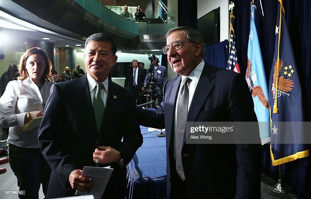 U.S. Secretary of Defense Leon Panetta (R) and Secretary of Veterans Affairs Eric Shinseki (2nd L) leave after a joint news conference December 6, 2012 at the Veterans Affairs Department in Washington, DC. Panetta and Shinseki made an announcement to accelerate deployment of an integrated electronic health record to serve both departments..