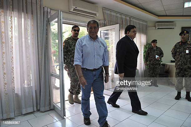 US Secretary of Defense Leon Panetta arrives with Afghan Minister of Defence Abdul Rahim Wardak for a joint press conference in Kabul on June 7 2012...