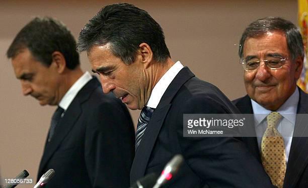 S Secretary of Defense Leon Panetta arrives with Spanish Prime Minister Jose Luis Rodriguez Zapatero and NATO Secretary General Anders Fogh Rasmussen...