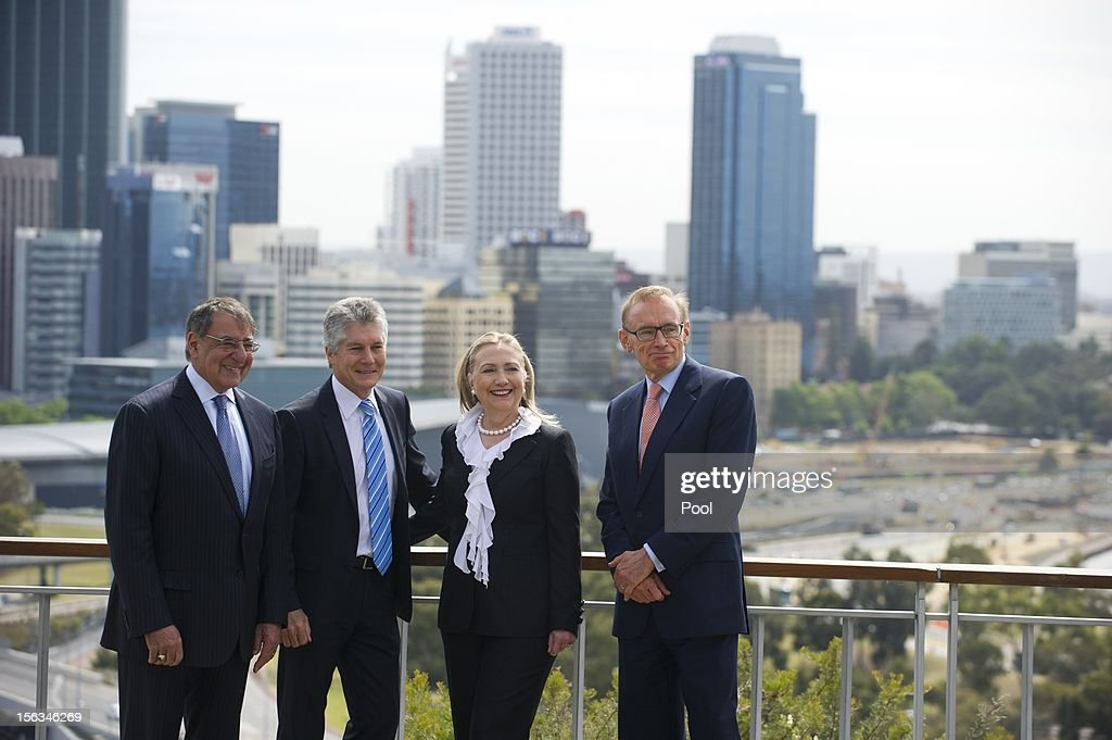 U.S. Secretary of Defense Leon Panetta, Australian Minister of Defense Stephen Smith, U.S. Secretary of State Hillary Clinton and Australian Foreign Minister Bob Carr pose prior to meetings as part of AUSMIN at the State Reception Center in Kings Park on November 14, 2012 in Perth, Australia. The bilateral AUSMIN forum will focus on foreign, defence and strategic policy and will be held in Perth today.