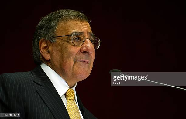 Secretary of Defense Leon Panetta delivers a speech on IndoUS Defense Relations at the Institute for Defense Studies and Analysis on June 6 2012 in...