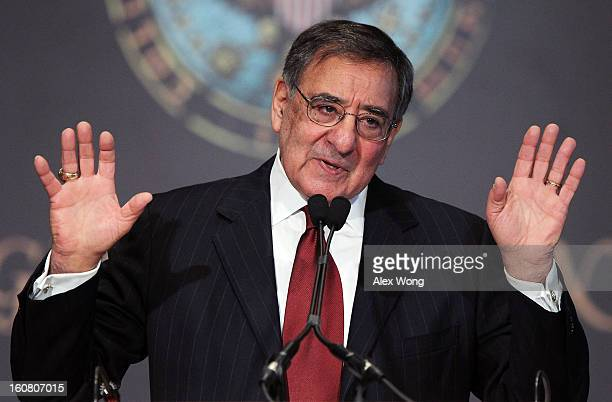S Secretary of Defense Leon Panetta delivers remarks at Gaston Hall of Georgetown University February 6 2013 in Washington DC Panetta spoke on the...
