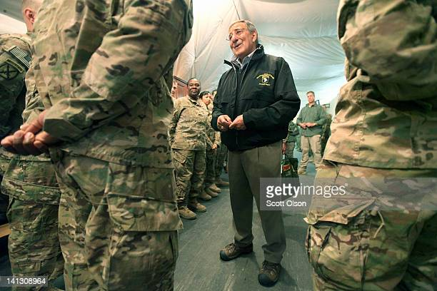 S Secretary of Defense Leon Panetta greets troops passing through the Transit Center at Manas on March 14 2012 near Bishkek Kyrgyzstan All US troops...