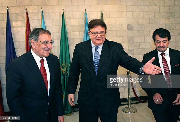 S Secretary of Defense Leon Panetta is greeted by Afghanistan's Minister of Defense Abdul Rahim Wardak as they prepare for a meeting March 14 2012 in...