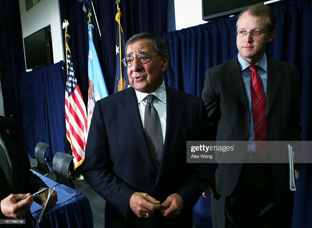 U.S. Secretary of Defense Leon Panetta (L) leaves with Department of Defense spokesman George Little (R) after a joint news conference December 6, 2012 at the Veterans Affairs Department in Washington, DC. Panetta and Shinseki made an announcement to accelerate deployment of an integrated electronic health record to serve both departments..