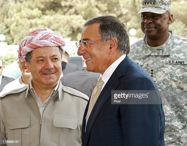 Secretary of Defense Leon Panetta meets Kurdish Regional Government President Massoud Barzani upon his arrival the presidential palace for a meeting...