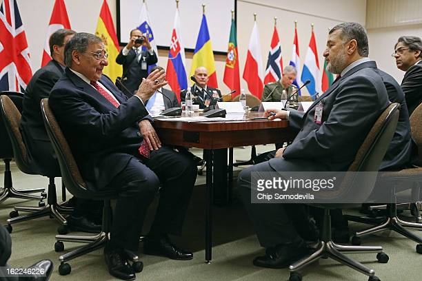 S Secretary of Defense Leon Panetta meets with Afghanistan Defense Minister Bismillah Khan Mohammadi and members of his delegation at the North...