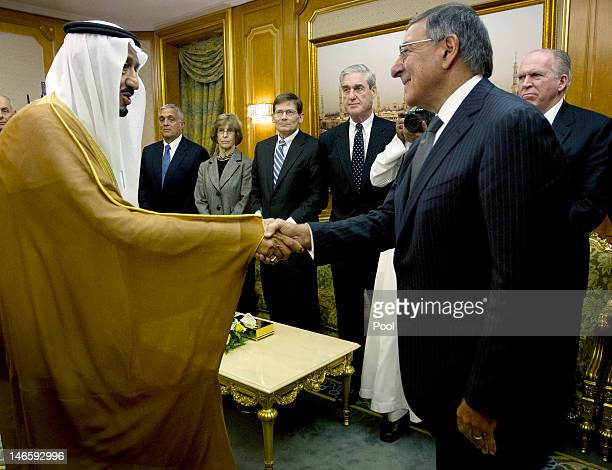 Secretary of Defense Leon Panetta meets with Crown Prince Salman bin Abdulaziz left during a condolence call at the Royal Court June 20 2012 in...