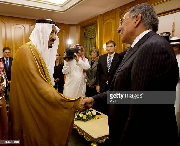 Secretary of Defense Leon Panetta meets with Crown Prince Salman bin Abdulaziz during a condolence call at the Royal Court June 20 2012 in Jeddah...