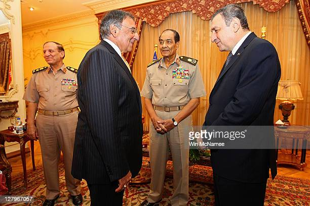 S Secretary of Defense Leon Panetta meets with Egyptian Field Marshal Mohamed Hussein Tantawi and Egyptian Prime Minister Essam Sharaf at the...