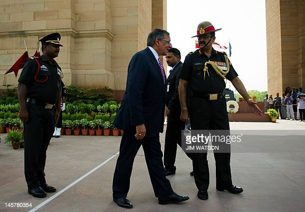 Secretary of Defense Leon Panetta participates in a wreath laying ceremony at India Gate which commemorates the 90000 soldiers of the Indian Army who...