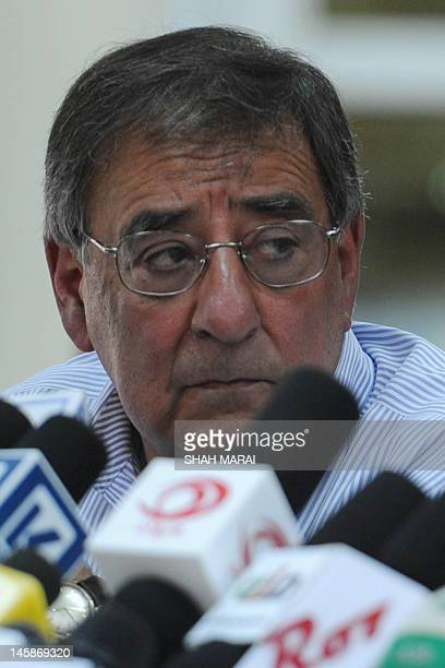 US Secretary of Defense Leon Panetta speaks during a joint press conference with Afghan Minister of Defence Abdul Rahim Wardak in Kabul on June 7...