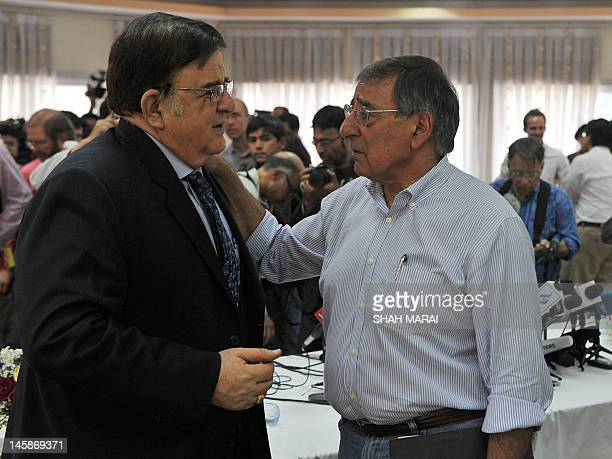 US Secretary of Defense Leon Panetta talks with Afghan Minister of Defence Abdul Rahim Wardak following a joint press conference in Kabul on June 7...
