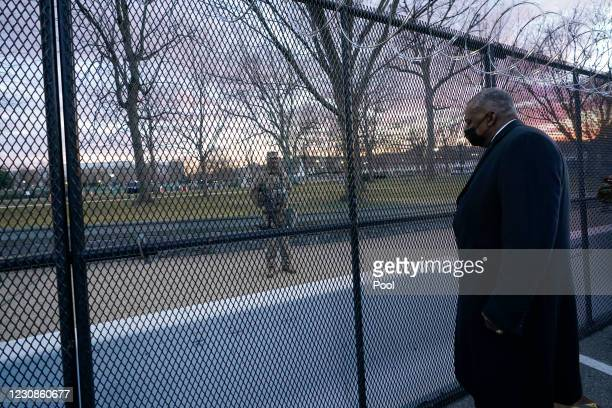 Secretary of Defense Lloyd Austin visits National Guard troops deployed at the U.S. Capitol and its on January 29, 2021 on Capitol Hill in...