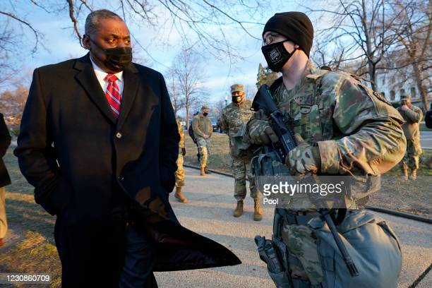 Secretary of Defense Lloyd Austin visits National Guard troops deployed at the U.S. Capitol on January 29, 2021 on Capitol Hill in Washington, DC....