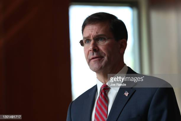 US Secretary of Defense Mark Esper addresses the media during a press briefing at US Southern Command on January 23 2020 in Doral Florida Esper was...