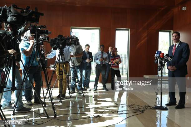 Secretary of Defense Mark Esper addresses the media during a press briefing at U.S. Southern Command on January 23, 2020 in Doral, Florida. Esper was...