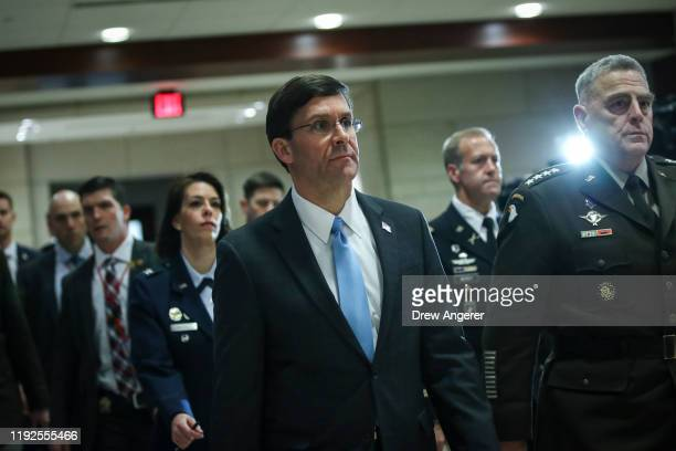 Secretary of Defense Mark Esper and Chair of the Joint Chiefs of Staff Mark Milley arrive for briefing with members of the US House of...