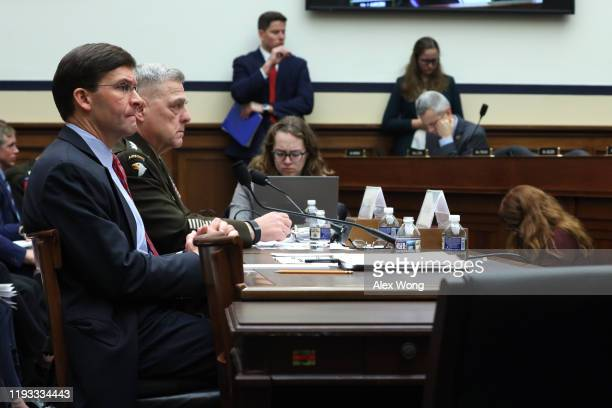 S Secretary of Defense Mark Esper and Chairman of the Joint Chief of Staff Gen Mark Milley testify during a hearing before the House Armed Services...