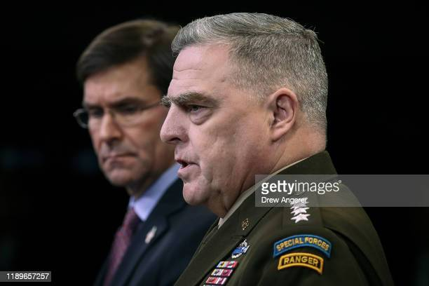 Secretary of Defense Mark Esper and Chairman of the Joint Chiefs of Staff Army Gen Mark Milley hold an end of year press conference at the Pentagon...