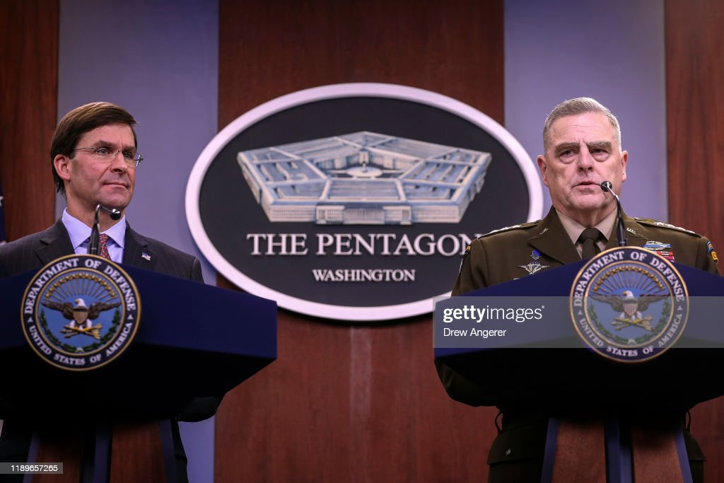 Defense Secretary Mark Esper And Joint Chiefs Of Staff Chairman Army Gen. Mark Milley Brief The Media At The Pentagon : News Photo